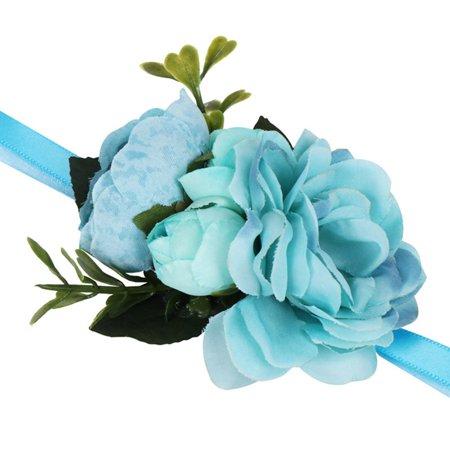 AkoaDa Simulation Roses Wrist Corsage Wrist Flowers For Bridesmaids Flower Bracelet Pink Blue Bridal Sisters Wedding Decor