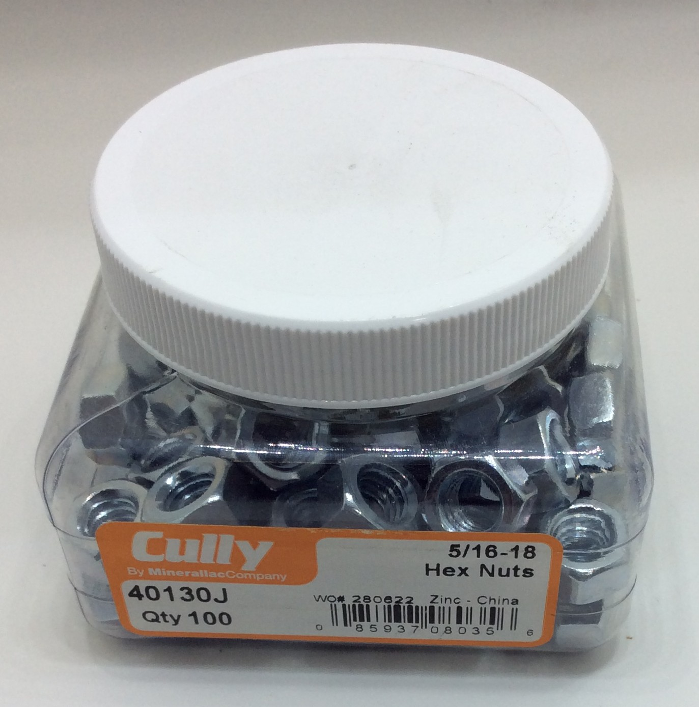 Cully 40130J 5/16-18 Zinc Plated Hex Nut (100-Pack)