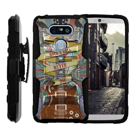 TurtleArmor ® | For LG G5 [Hyper Shock] Hybrid Dual Layer Armor Holster Belt Clip Case Kickstand - Rock N Roll Never