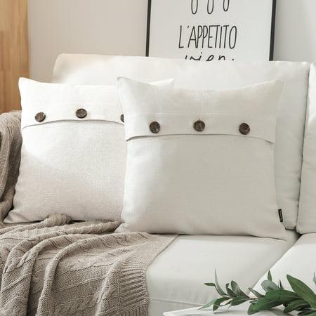 "Phantoscope Triple Button Cotton Blend Series Decorative Throw Pillow, 18"" x 18"", Off-White, 2 Pack ()"