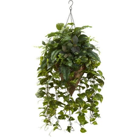Nearly Natural Vining Mixed Greens w/Cone Hanging (Hanging Cone Natural)