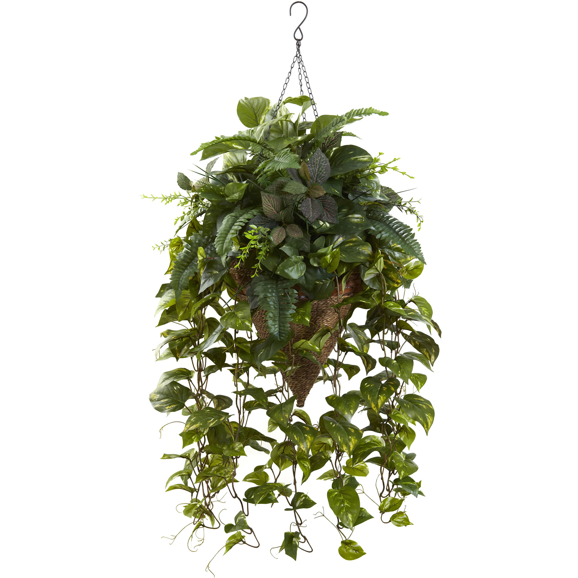 Nearly Natural Vining Mixed Greens w/Cone Hanging Basket