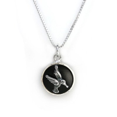 Sterling Silver Hummingbird Round Onyx Charm Pendant Necklace