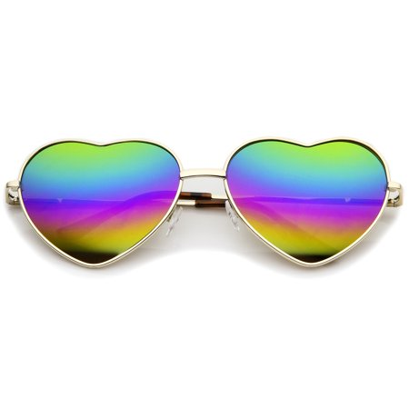 - Women's Metal Frame Colored Mirror Rainbow Lens Heart Sunglasses 61mm (Gold / Rainbow Mirror)