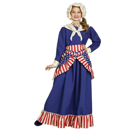 Girls Betsy Ross Historical American Costume size Medium 8-10](Rick Ross Halloween)