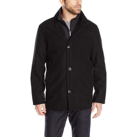 Gray Mens Wool Blend Bib Car Coat