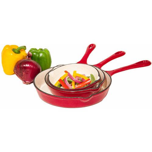 Heuck 3-Piece Cast Iron Porcelain Enameled Skillet Set, Red