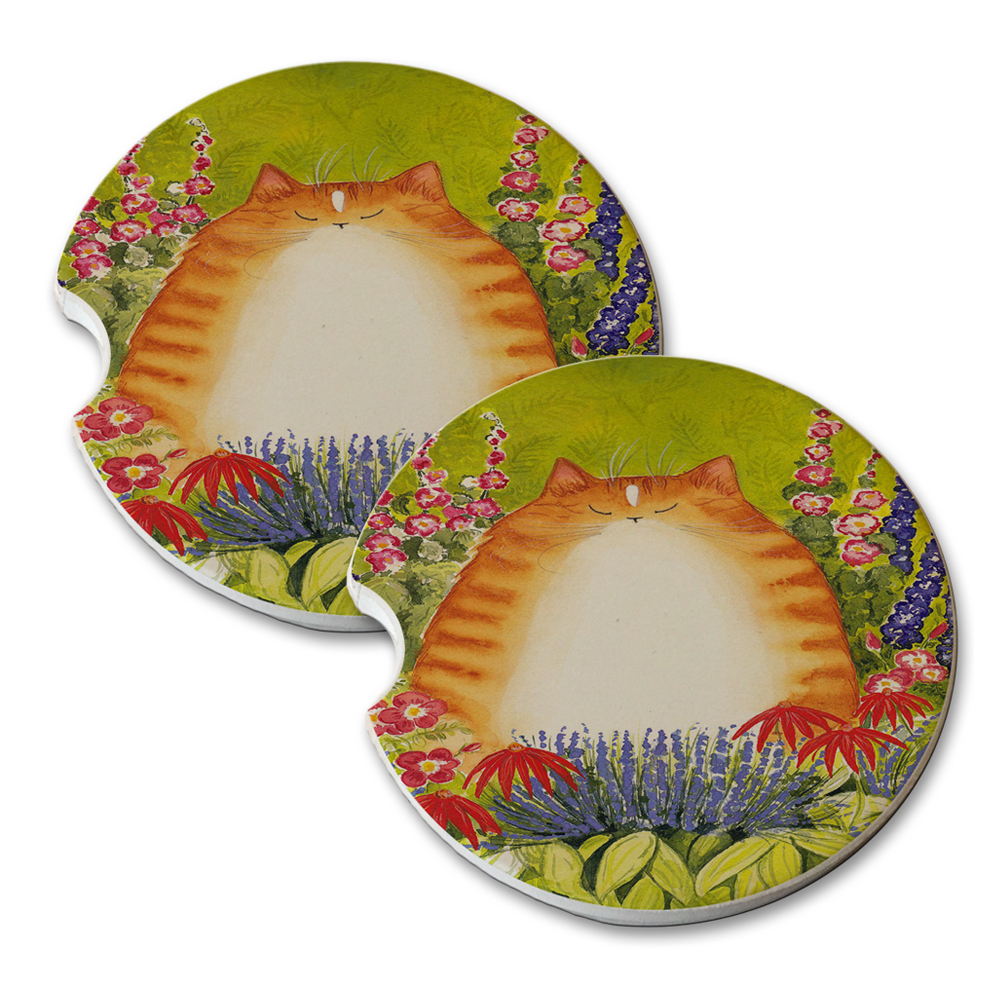 KuzmarK Sandstone Car Drink Coaster (set of 2) Ginger Tabby Cat with Garden Flowers Art by Denise Every by KuzmarK