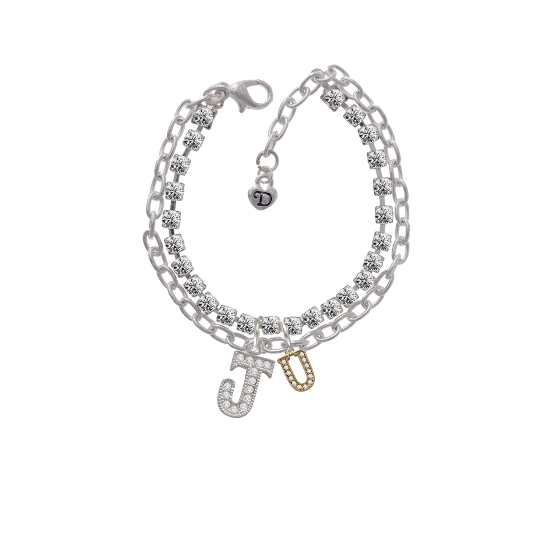 Gold Tone Small Crystal Initial - U -J- Double Strand Madison Charm Bracelet