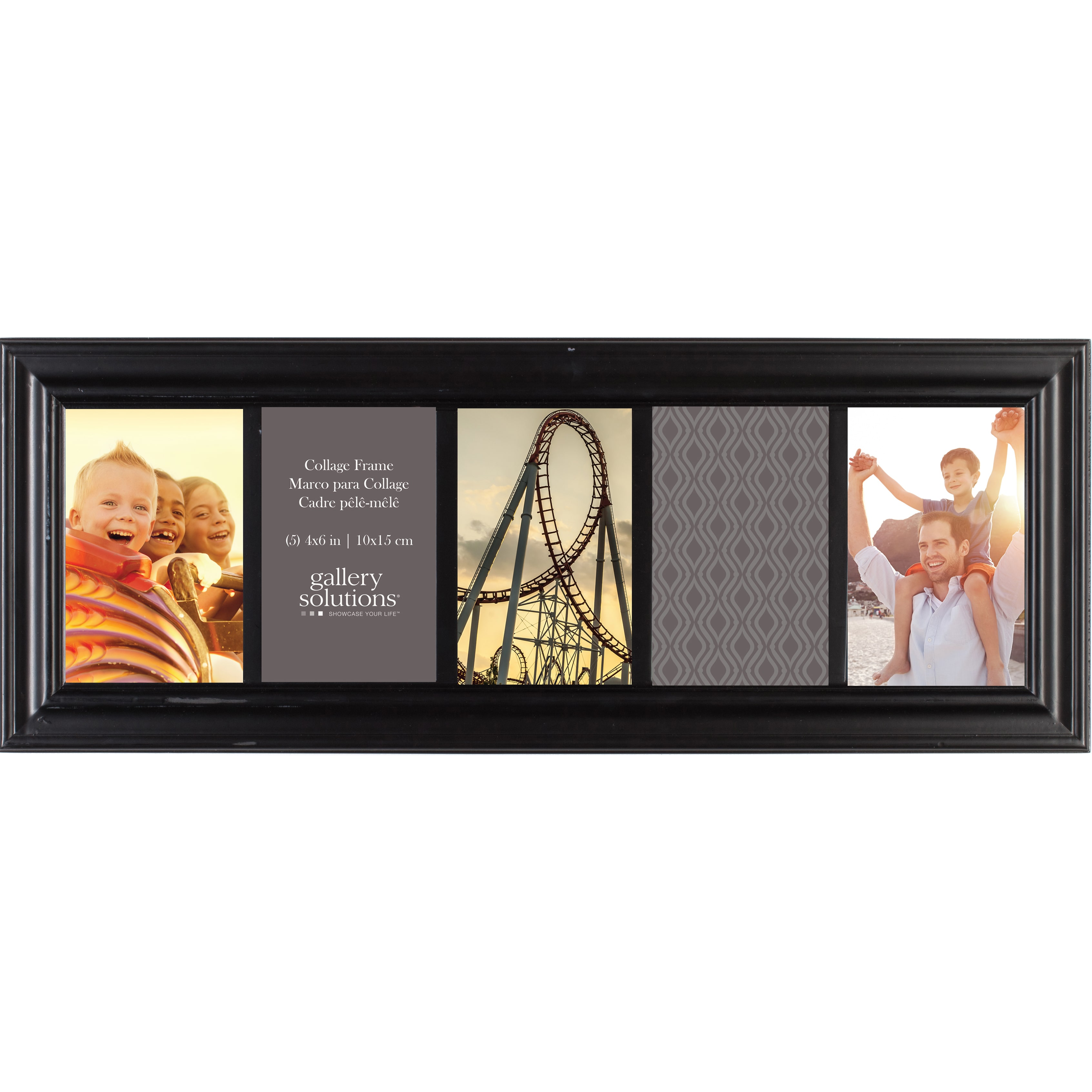 NielsenandBainbridge Gallery Solutions Black Wood 6-inch x 20-inch 5-opening Linear Collage Frame