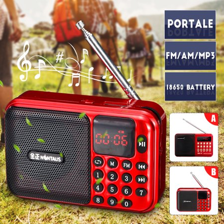 Mini Digital AM/FM Radio Media Speaker MP3 Music Player Support TF Card/USB Disk LED Screen Display with Charging Cable (Mp3 Player And Am Fm Radio)