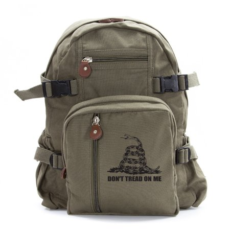 Don't Tread On Me Rattlesnake Army Sport Heavyweight Canvas Backpack