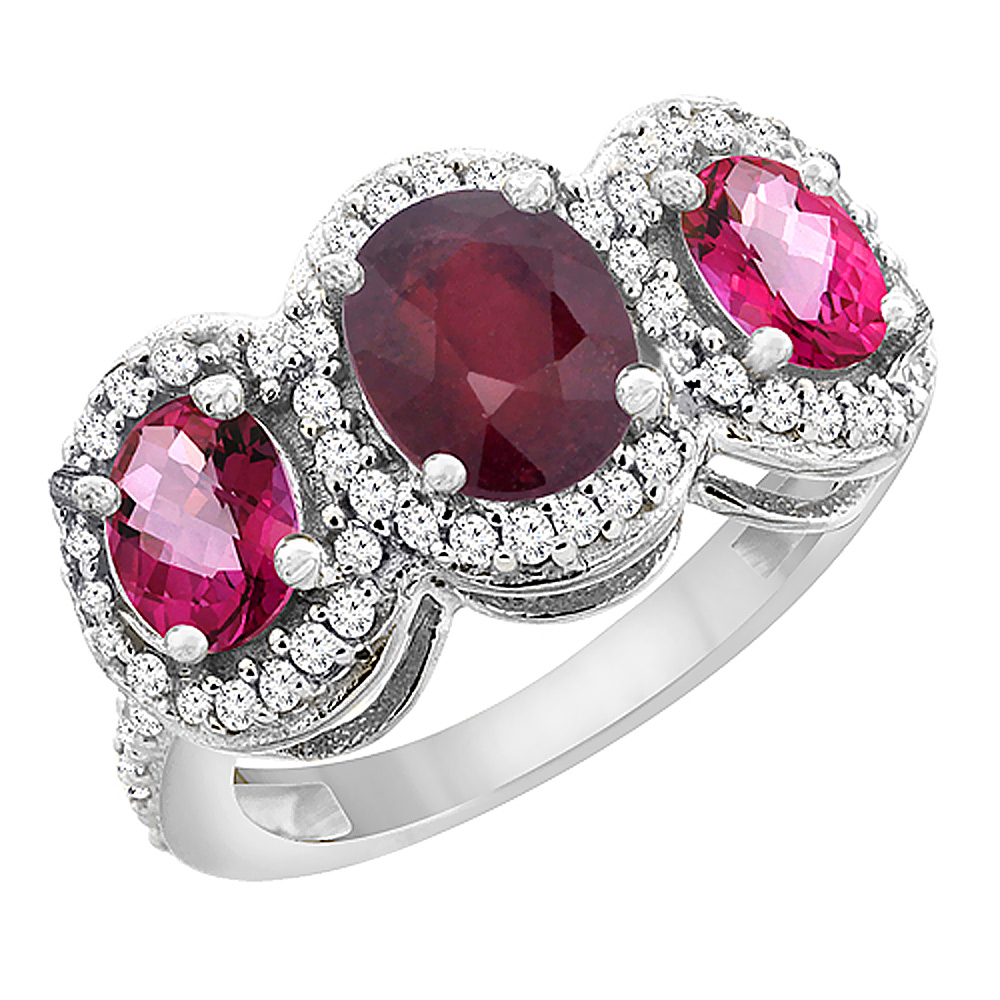14K White Gold Natural HQ Ruby & Pink Topaz 3-Stone Ring Oval Diamond Accent, size 5 by Gabriella Gold