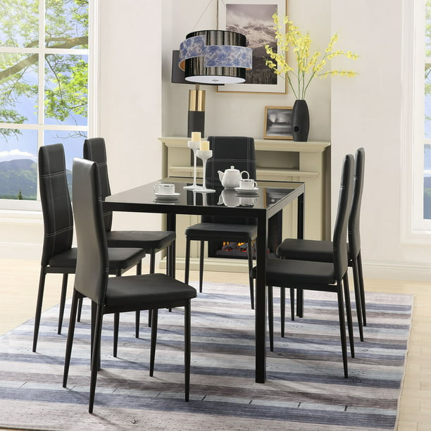 Metal Dining Table Set With 6 Chairs, Heavy-Duty Tempered Glass Dining Table And 6 Chairs, 7 Piece Kitchen Dining Set For Bar, Breakfast Nook, Small Spaces Dining Room Furniture, Black, W12790 -