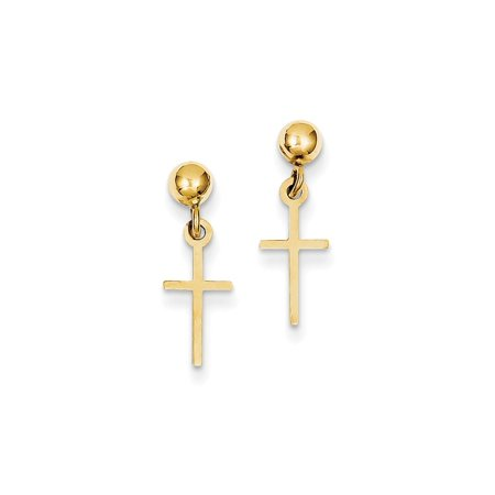 14k Yellow Gold Cross Religious Drop Dangle Chandelier Post Stud Earrings