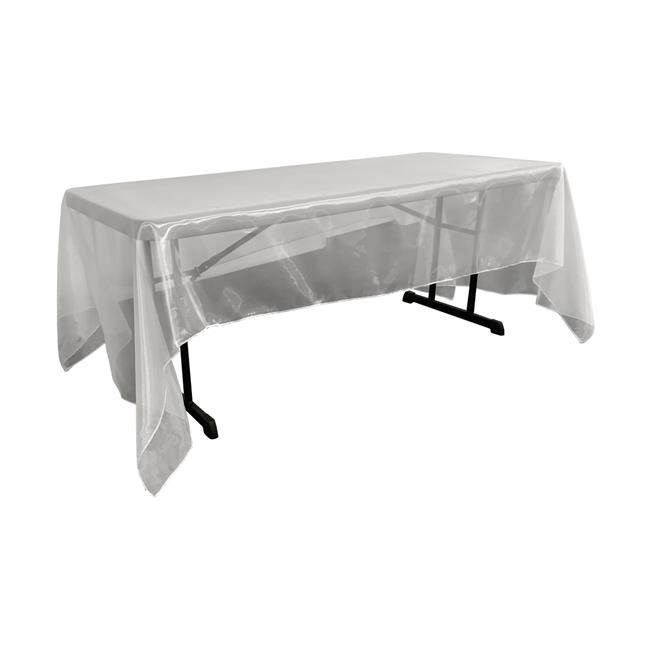 LA Linen TCOrgz60x144-WhiteO11 Sheer Mirror Organza Square Tablecloth, White - 60 x 144 in. - image 1 de 1