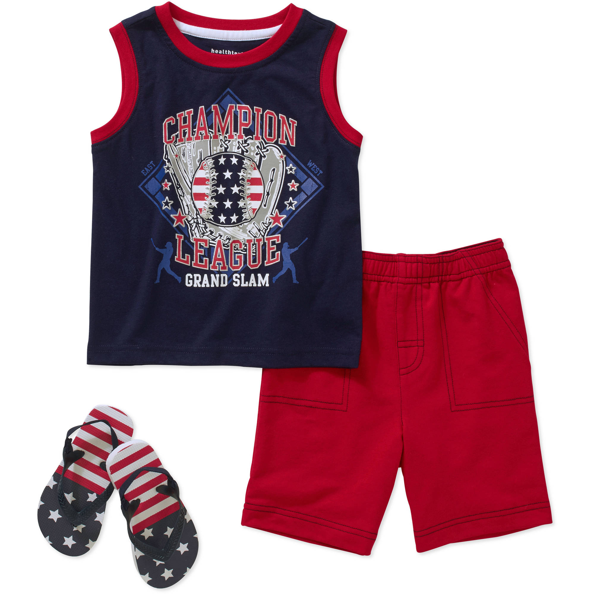 Healthtex Baby Toddler Boy Tank, Shorts and Flip Flops 3-Piece Outfit Set