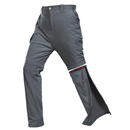 33,000ft Men's Convertible Hiking Pants, Quick Dry Stretch Zip-Off Pants, Lightweight Cargo Pants for Camping, Fishing Grey thumbnail