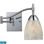 Celina 1-Light Swingarm Wall Lamp in Chrome with Snow White Glass