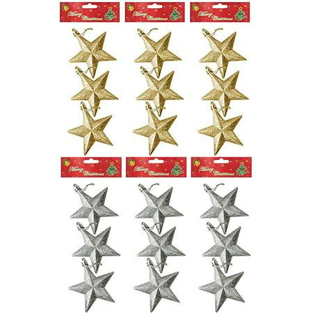 Christmas Glitter Star Ornaments Decorations - Gold & Silver (9 of each - Golf Christmas Decorations