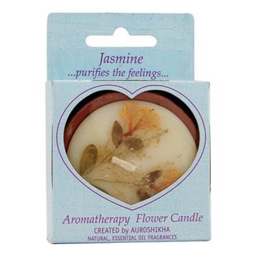 Auroshikha Candles And Incense Medium Round Flower Candle, Jasmine -  1 Ea
