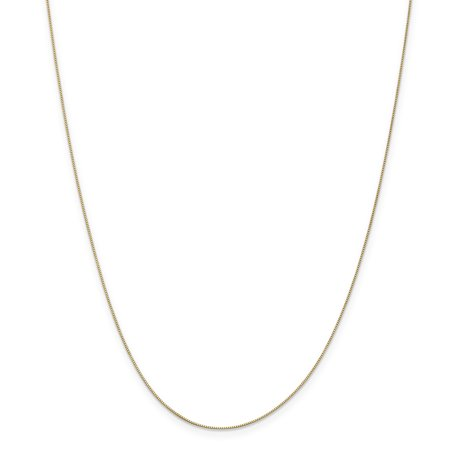 14k Yellow Gold 0.5mm Box Necklace Chain 24 Inches