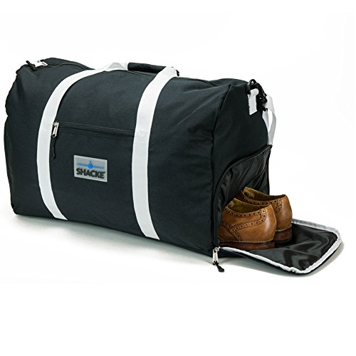 Shacke's Travel Duffel Express Weekender Bag Carry On Luggage with Shoe Pouch (Black) by