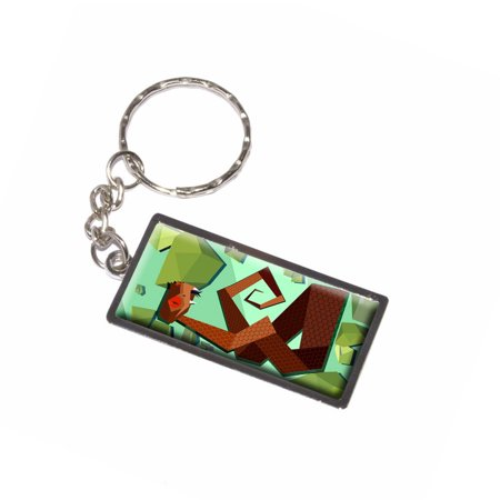 Snake Red Geometric - Reptile Keychain