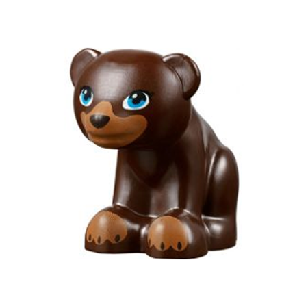 LEGO Animal Bear, Friends / Elves, Cub, Sitting with Black Nose, Dark Azure  Eyes and Dark Tan Paws and Muzzle Pattern Minifigure