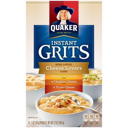 Quaker Cheese Lovers Instant Grits, 1 oz, 12 count