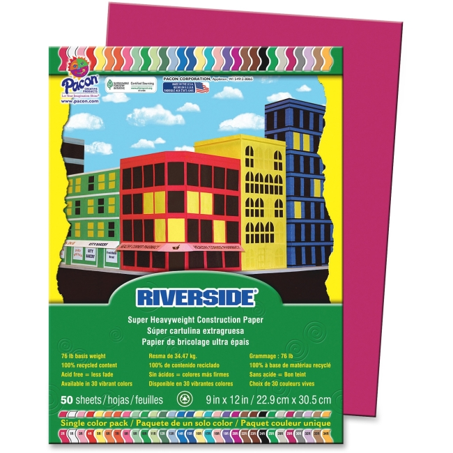 Pacon Riverside Construction Paper, 76 lbs., 9 x 12, Scarlet, 50 Sheets/Pack - PAC103450