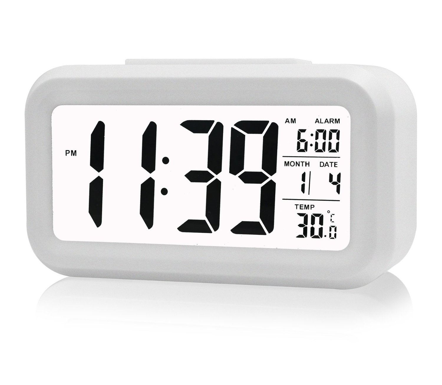 EEEKit Digital Sensor Automatic Soft Light Snooze Desk Alarm Clock Date Temperature(White) by