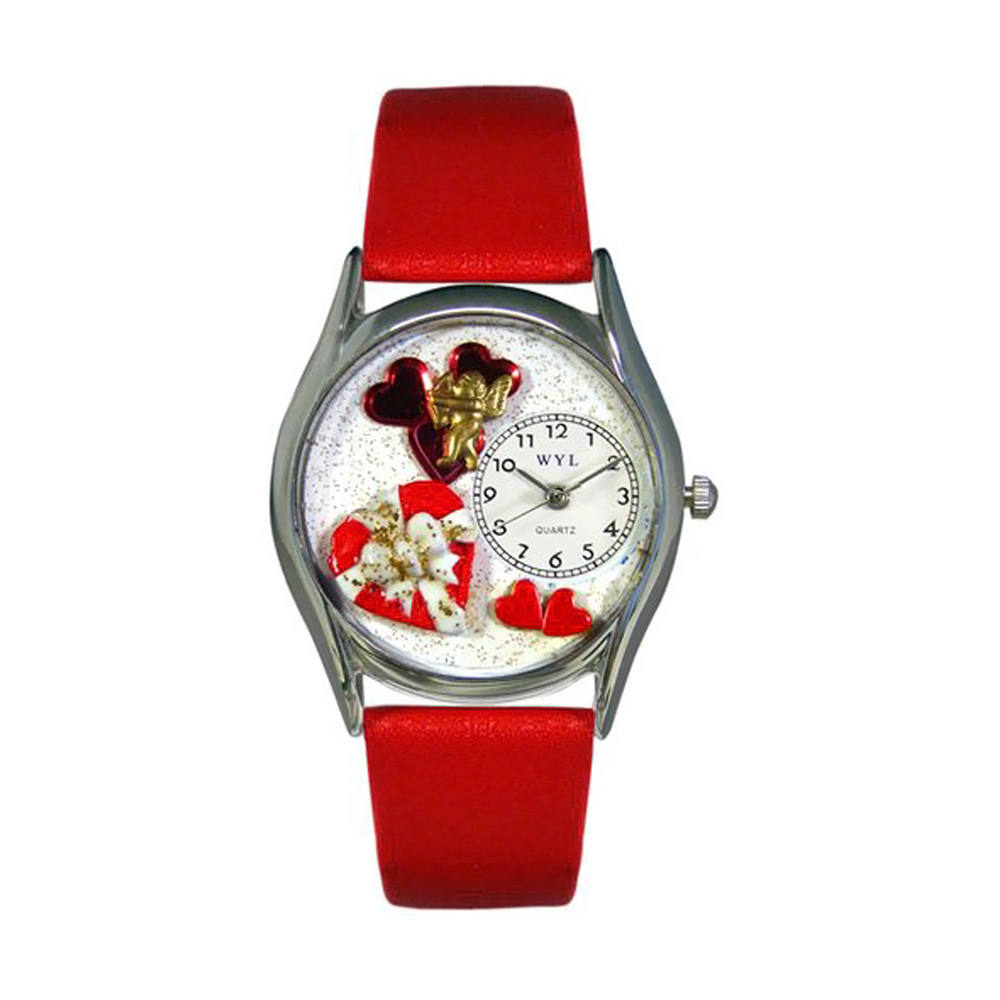 Whimsical Valentine's Day Red Red Leather And Silvertone Watch