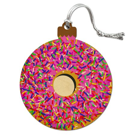 Pink Donut with Pink Frosting and Sprinkles Wood Christmas Tree Holiday Ornament
