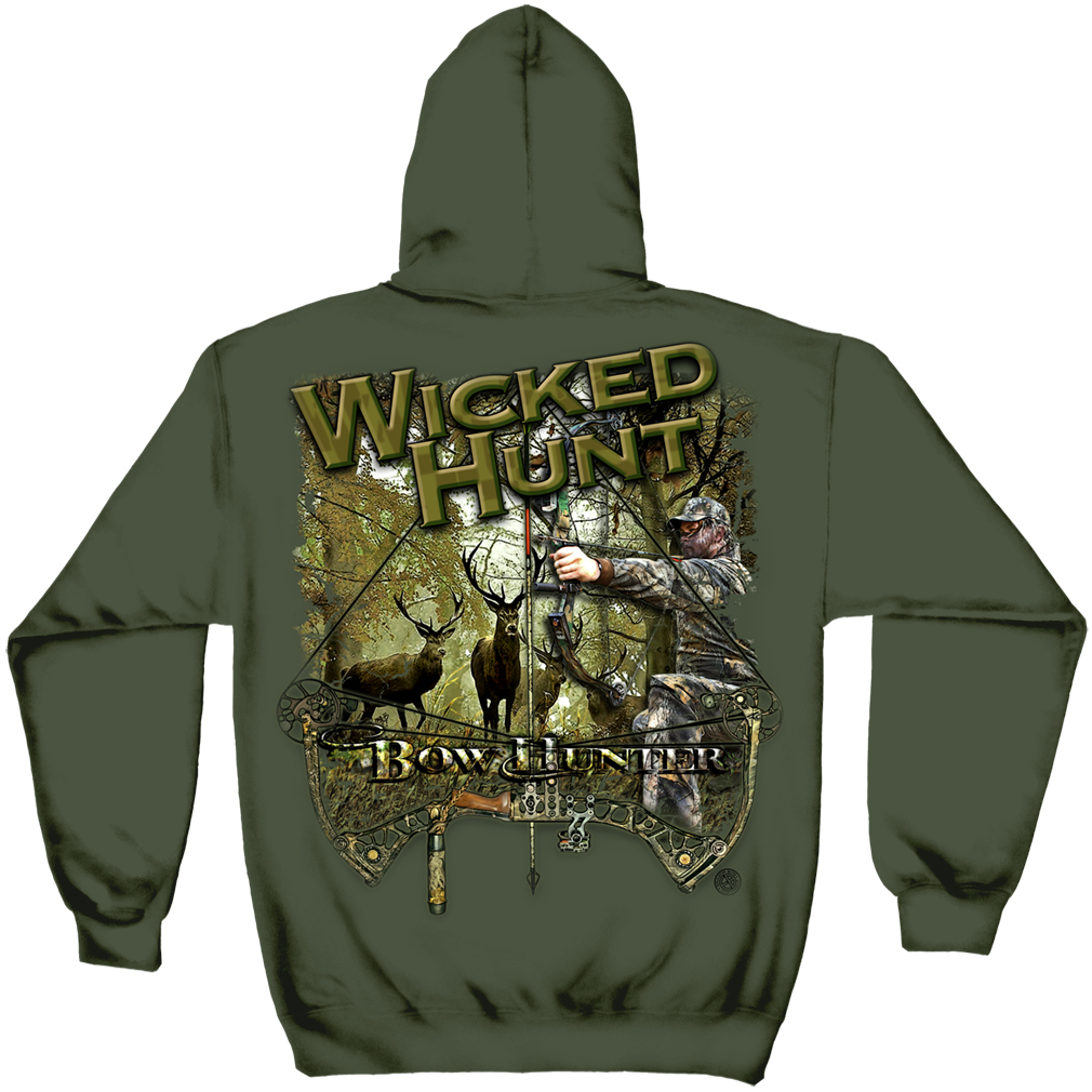 Hunting Hooded Sweat Shirt Wicked Hunt Bow Hunting Military Green by WH118SW