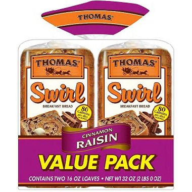 - Thomas' Cinnamon Raisin Swirl Toasting Bread (2 Pk.) (pack of 2)
