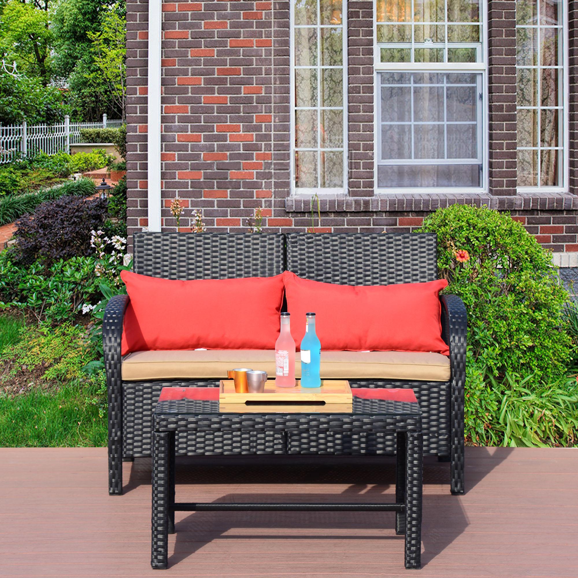 Cloud Mountain 2 PC Rattan Loveseat Sofa Furniture Bistro Set Outdoor Wicker Patio Garden Loveseat Glass Top Table