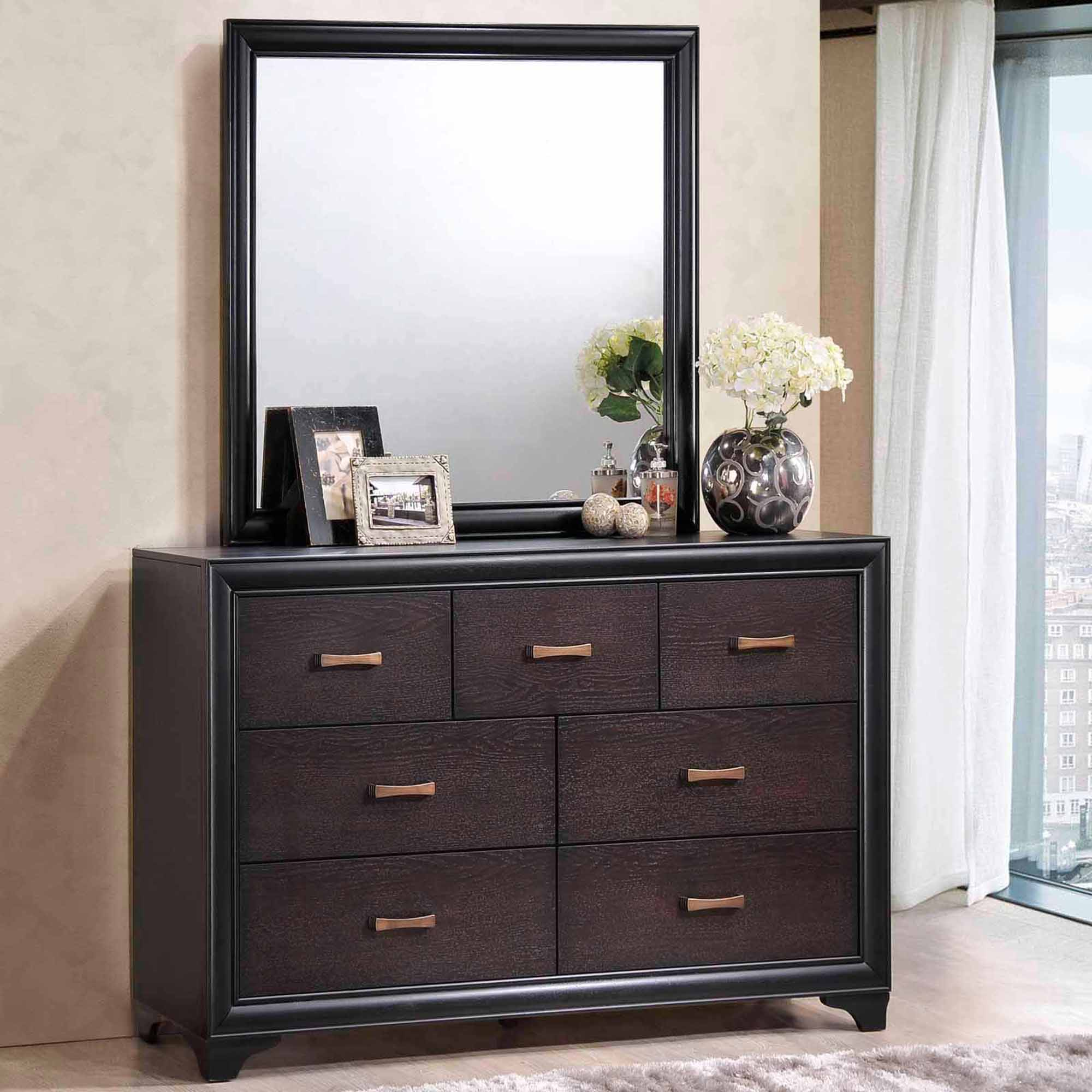 Modway Madison 7-Drawer Dresser and Mirror Set in Walnut