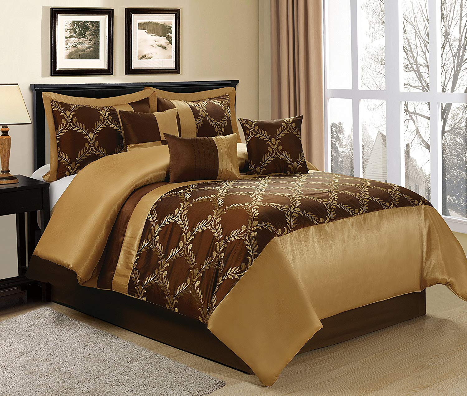 Hig 7 Piece Comforter Set King Chocolate And Gold Taffeta Fabric Embroideried Claremont Bed In A Bag King Size Smooth And Good Gloss 1 Comforter 2 Shams 3 Decorative Pillows 1 Bedskirt Walmart Com Walmart Com