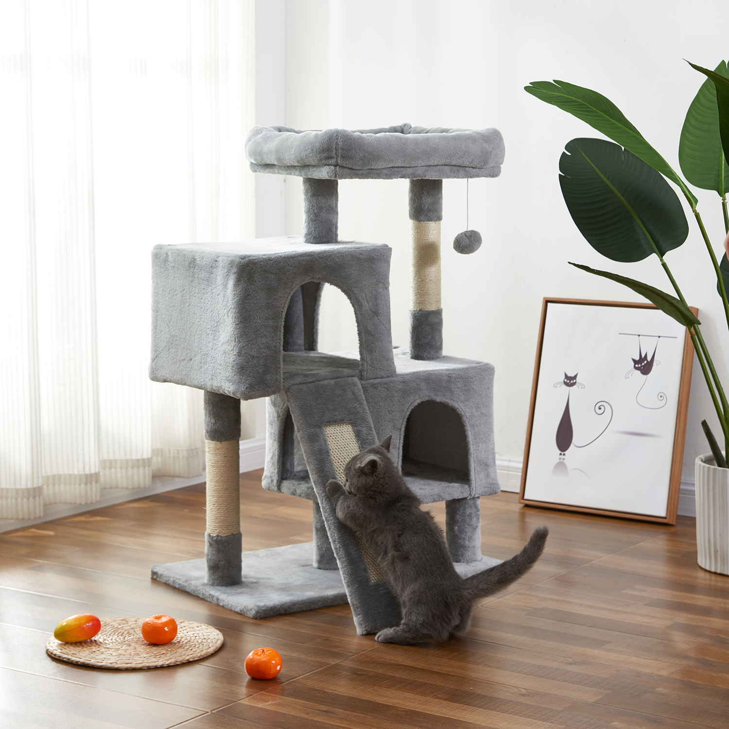 Multi Level Cat Tree Condo Furniture With Sisal Covered Scratching Posts For Kittens Cats And Pets Walmart Com Walmart Com