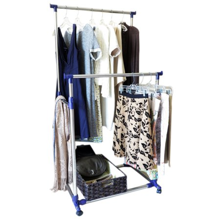 evelots heavy duty clothes rack portable double clothes hanging storage bars. Black Bedroom Furniture Sets. Home Design Ideas