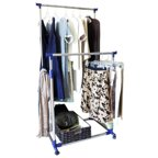 Yaheetech Clothing Rack Rolling Garment Rack Double Rail