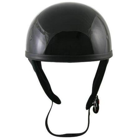 Snell Half Helmets - Outlaw Helmets Outlaw T68 DOT Glossy Black Motorcycle Skull Cap Half Helmet Black X-Small