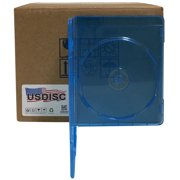USDISC Blu-ray Cases Slimline 7mm, Single 1 Disc, Clear Blue, Pack Of 100