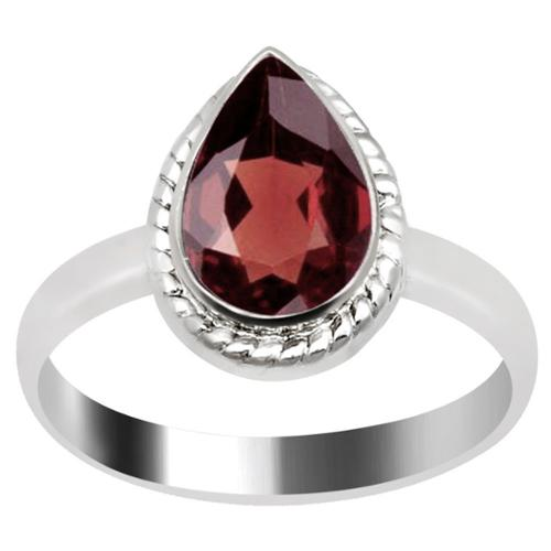 Orchid Jewelry Mfg Inc Orchid Jewelry Silver Overlay 1 1/2ct Pear-cut Natural Garnet Ring
