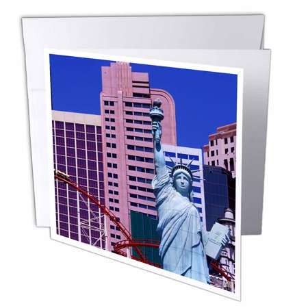 3dRose New York Hotel and Casino.The Strip, Las Vegas, United States, Greeting Cards, 6 x 6 inches, set of 12