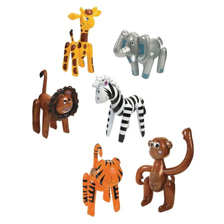 Fun Express - Inflate Zoo Animal Assortment - Toys - Inflates - Inflatable Characters - 12 - Inflatable Animals
