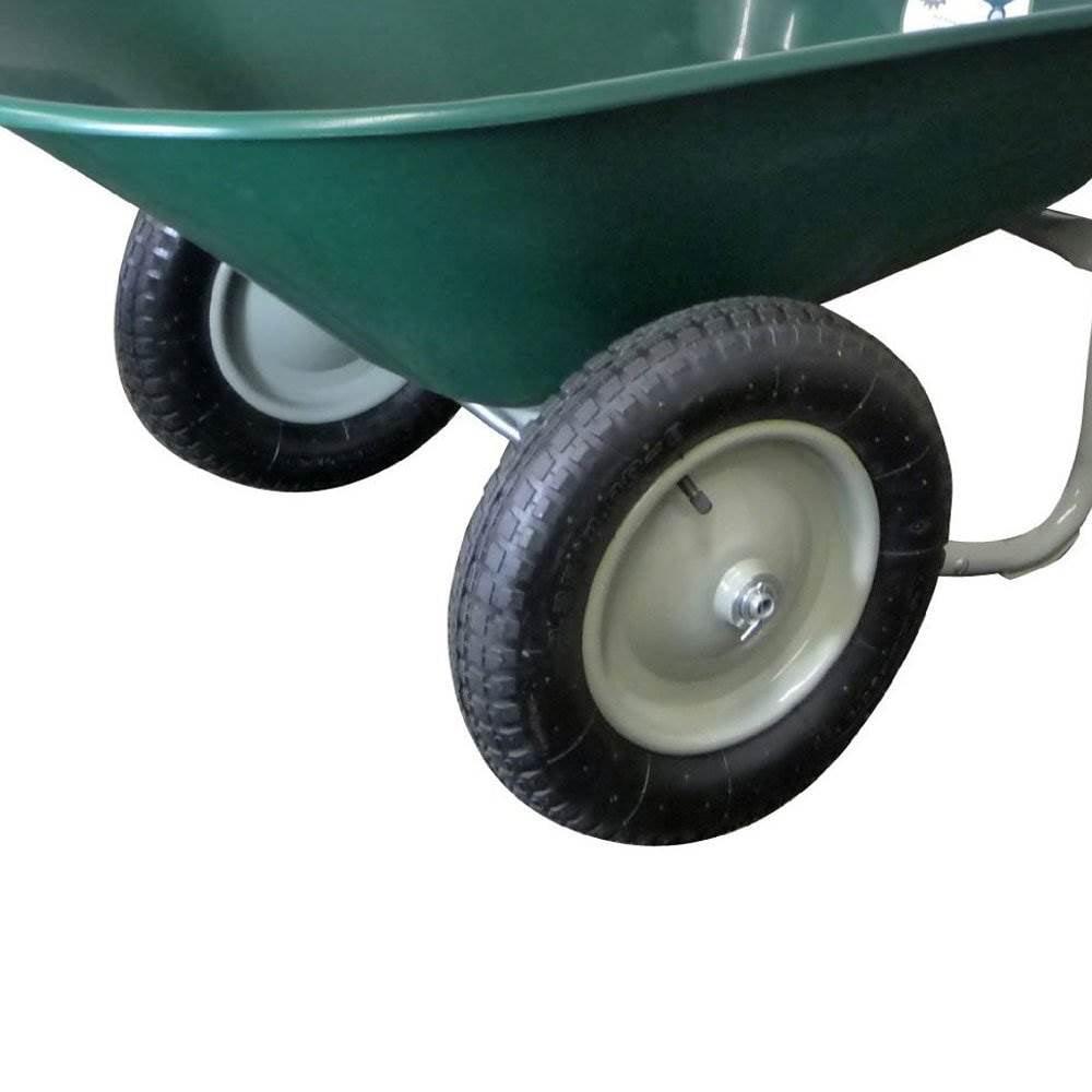 Marathon Dual-Wheel Residential Yard Rover Wheelbarrow and Yard Cart Green