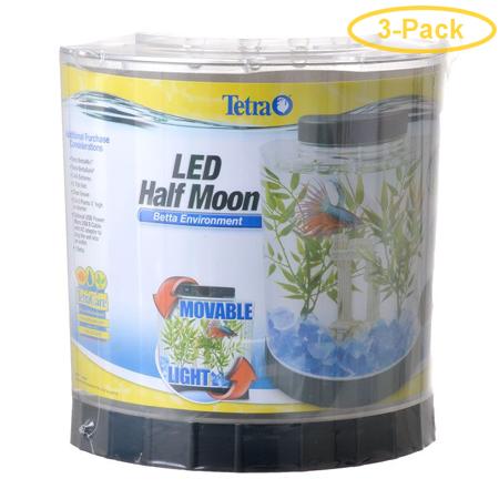 Tetra Half Moon Betta Kit with LED Lighting 1 Gallon Aquarium Kit - Pack of (Tetra Color Fusion 3 Gallon Half Moon Kit)