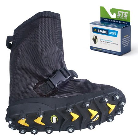 STABILicers Voyager Overshoe with Traction Cleats for Ice & Snow, Fits Over Shoes/Boots, Made in USA, 25 Replacement Cleats Included X-Small (5-6.5 Women)